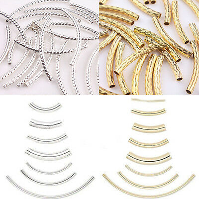 Curved Tube Silver Gold Plated Elbow Noodle Spacer Loose Beads Jewelry Finding