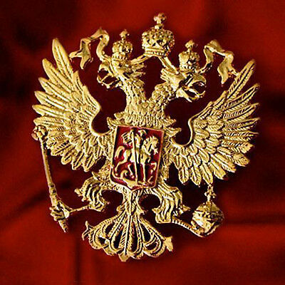SOLID RUSSIAN IMPERIAL EAGLE ST.GEORGE CREST RUSSIA COAT ARMS GOLD PLATE PIN 5cm