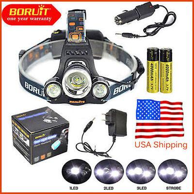 BORUiT Headlamp 13000 Lumen XM-L 3x T6 LED Headlight 18650 Light Charger Battery