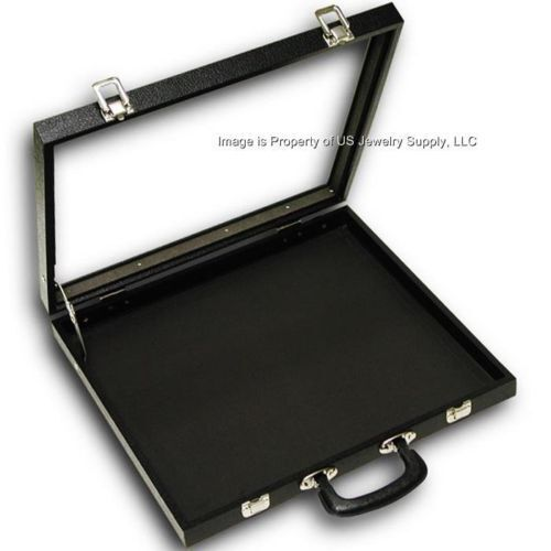 """Glass Top Lid X-Large Display Carrying Case w/ Handle 16 1/4""""W x 15""""D x 2 1/8""""H"""