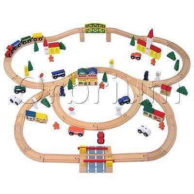 Wooden Train Set 100 Piece Orbrium Toys Triple Loop Fits Thomas Brio...