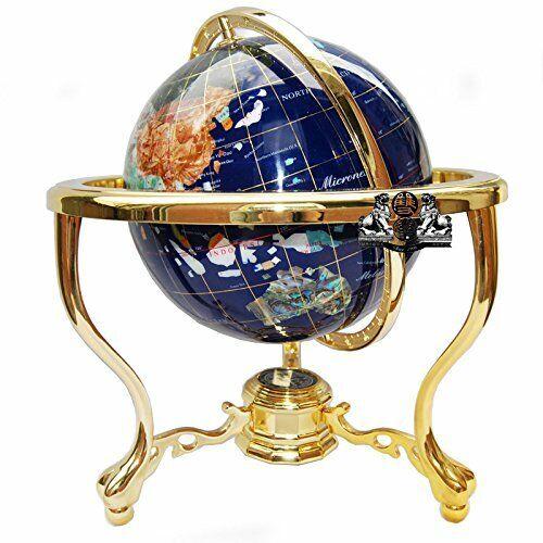 """14"""" Blue Ocean Gold ZINC ALLOY table stand Gem MOP Gemstone World MAP globe"""
