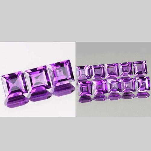 3mm Lot 3,10pcs Square Cut Natural AA Purple AFRICA AMETHYST