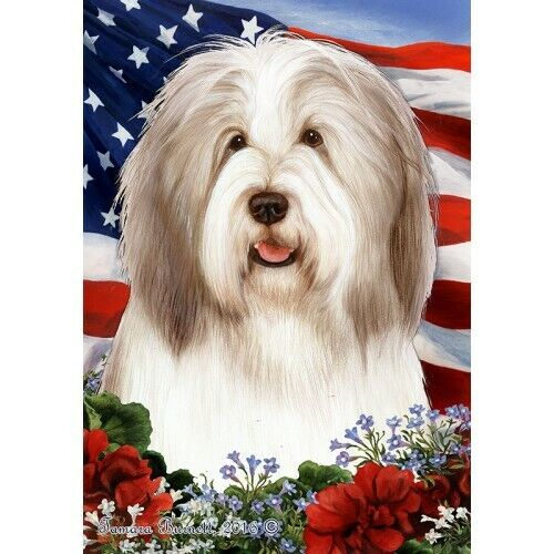 Patriotic (1) House Flag - Fawn and White Bearded Collie 16483
