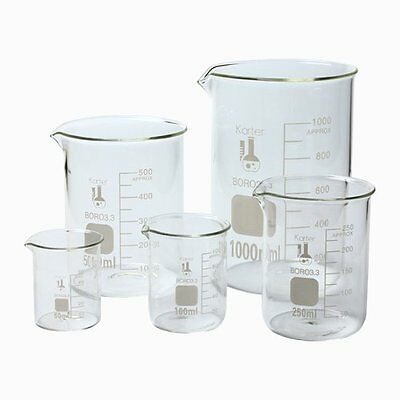 213A2 Karter Scientific Low Form Glass Beaker 5 Piece Set 50 100 250 500 1000 ml on Rummage