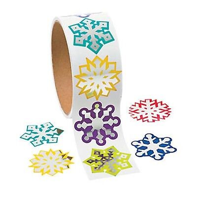 Assorted Color Foil Snowflake Stickers Roll of 100 Holiday Party - Snowflake Favors