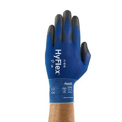 3 Pair Ansell HyFlex 11-618 Polyurethane Coated Precision Glove Size 9