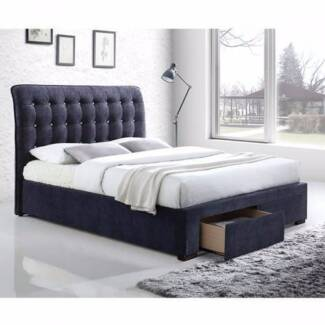 MANAROLA UPHOLSTERED QUEEN BED NEW charcoal