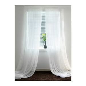 Ikea Lill Pair of Long Sheer Floaty White Net Curtains Brand New 280 x 250cm