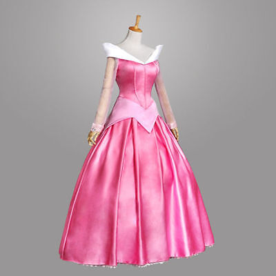 US! Sleeping Beauty Princess Aurora Halloween Cosplay Costume Women Fancy Dress
