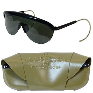Original-US-Army-1970s-SUNGLASSES-with-OLIVE-CASE-Genuine-Unissued-Vietnam-Era