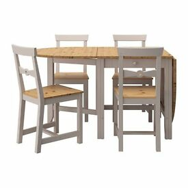AS NEW GAMLEY Gate Leg Table and 4 chairs, Light antique stain/grey ONLY USED ONCE