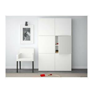IKEA BESTA WHITE STORAGE UNIT w/ two glass doors.