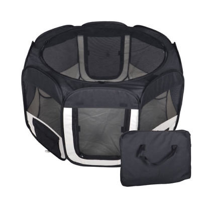 NEW Small Pet Dog Cat Tent Playpen Exercise Play Pen Soft Crate Fence Case Black