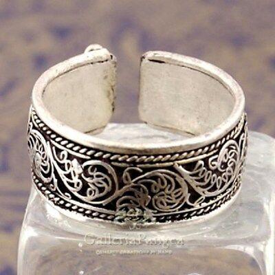 Wide Adjustable Tibetan Lotus Filigree Weaving Amulet Ring Thumb Ring