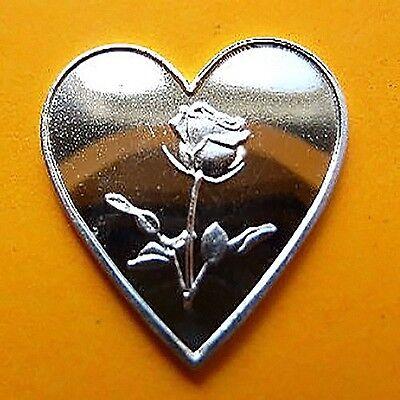 999 Silber Silberbarren Silver Herz mit Rose Super Geschenk Muttertag selten NEU