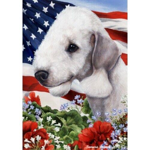 Patriotic (1) House Flag - Bedlington Terrier 16132