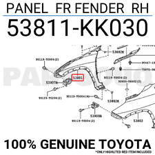 53811KK030 Genuine Toyota PANEL FR FENDER RH 53811-KK030