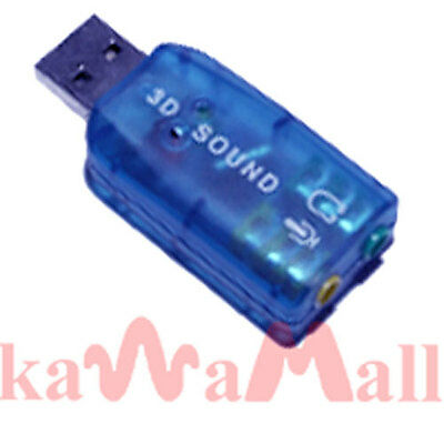 USB 3D Audio External 5.1 Sound Card Adapter Vista 98