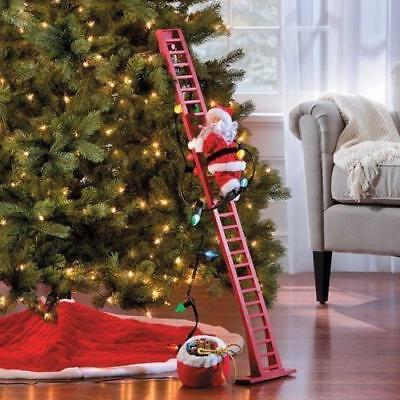 ANIMATED PRE-LIT MUSICAL SANTA CLIMBING LIGHTED LADDER CHRISTMAS TREE Decoration