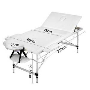 Portable Aluminium 3 Fold Massage Table Chair Bed White 75cm Silverwater Auburn Area Preview