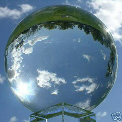 """200mm 8"""" Clear Fused quartz Crystal Ball Sphere with Crystal Base"""