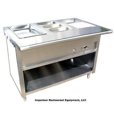 48 4ft Stainless Steel Steam Table Natural Gas 3 Pans One Burner 20k Btu - Nsf