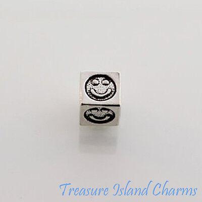 Glückliches Gesicht Lächeln Emoji .925 Sterling Silber Block Perle 5.8mm, 3.8mm
