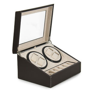 Watch Winder 4 + 6 Leather Storage Display Case Box Automatic Rotation New