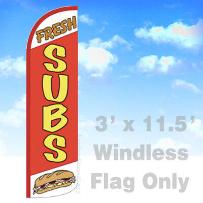 Fresh Subs - Windless Swooper Flag Feather Banner Sandwiches Sign 3x11.5 Rq