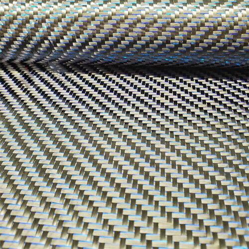 250gsm Black Carbon fiber Blue Metallic reflection mixed Twill fabric cloth