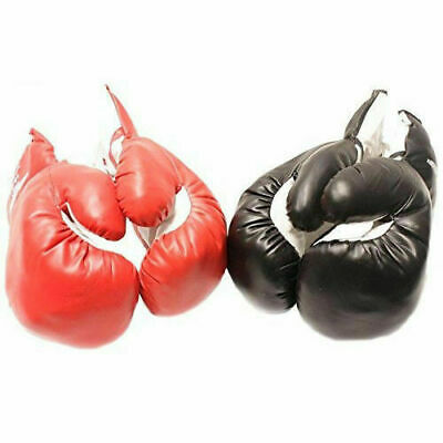 2 PAIRS 18 OZ BOXING PRACTICE TRAINING GLOVES Sparring Faux Leather Red Black