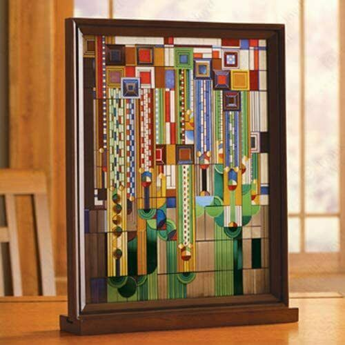 """Ebros Frank Lloyd Wright Cactus Flowers Stained Glass Plaque Wall Hanger 15""""H"""