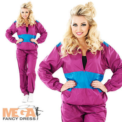 Shell Track Suit Ladies 1980s Fancy Dress Eighties Party Womens 80s Costume New (Eighties Costumes)