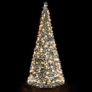 Pre Lit Snow Flock Holly Pop Up Christmas Tree 1 8m 200 Warm White Light Ct05874