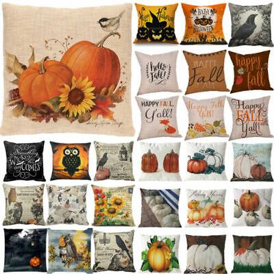 US Halloween Happy Pillow Cases Fall Sofa Pumpkin Throw Cushion Cover Home