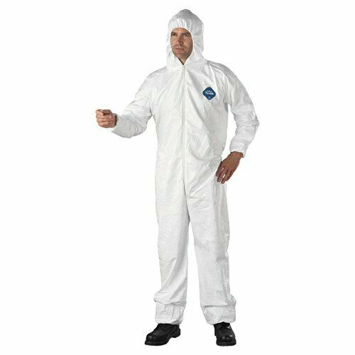 Dupont TY127S White Tyvek Disposabl Coverall Bunny Suit Hood & EWA Size M-5XL