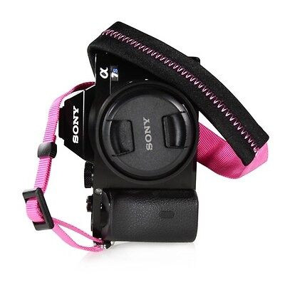 Padded Neck Shoulder Strap with HOT PINK Grosgrain Ties Panasonic Canon Nikon
