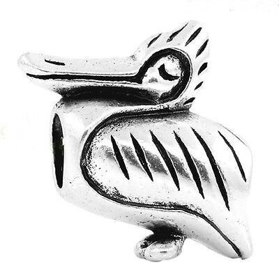 3D Pelican Bird 20mm Antiqued Silver Large 5mm Hole European Charm Bead 1pc