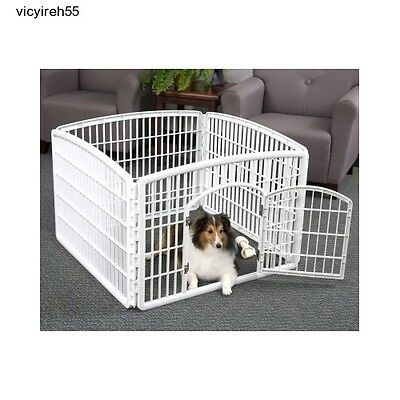 Pet Play Pen Indoor Outdoor Exercise Plastic Dog Kennel Puppy Crate Fence Cage