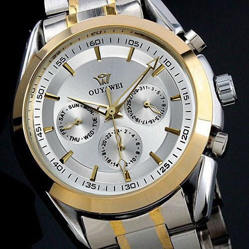 New Automatic Watch Date Sport Stainless Steel Band Mens Mechanical Analog Wrist