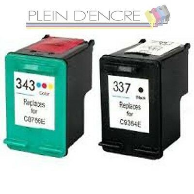 Lot de cartouche d'encre hp 337 xl et hp 343 xl  imprimante hp photosmart c4180