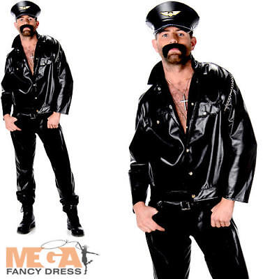 Biker Mens Fancy Dress 70s 1970s Motorbike Gang YMCA Occupation Adults Costume