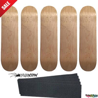 "5 Natural Pro Skateboard Decks size 8.0"" Lot of 5pc Blank + optional Grip"