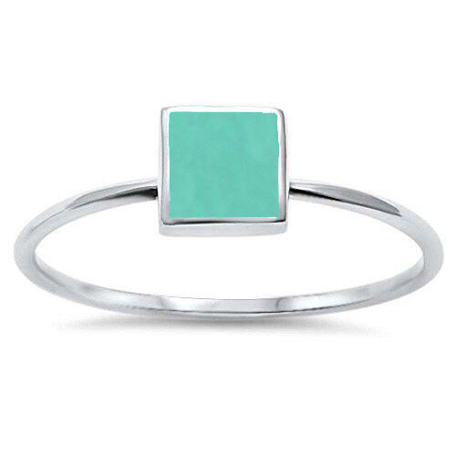 Square Turquoise .925 Sterling Silver Ring Size 5-10