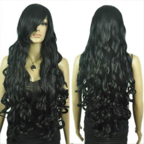 Extra Long Black Curly Wig | eBay