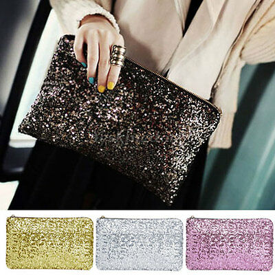 Womens Ladies Sparkling Bling Sequin Clutch Purse Evening Party Handbag Bag