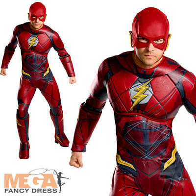 The Flash Mens Fancy Dress Superhero Justice League Comic Movie Adults Costume](Adult Flash Movie)