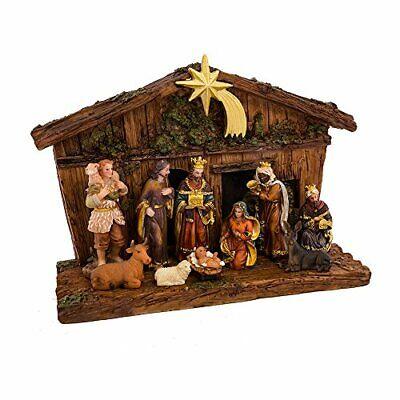 Kurt Adler 11-Piece Nativity Set~Stable~Baby Jesus~Mary~Joesph~3 Wise Men~Cow +