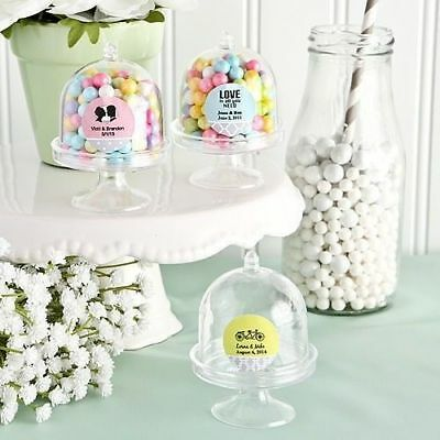 75-400 Personalized Mini Cake Stand Design Plastic Candy Box Wedding Party Favor - Personalized Cake Boxes